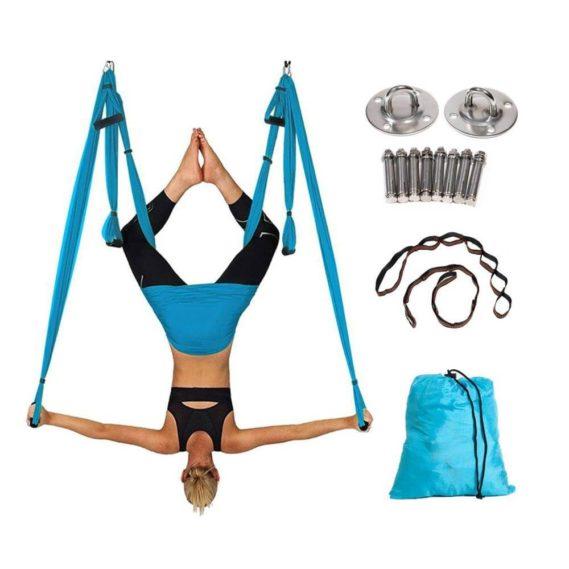 Ensemble complet Yoga hamac plafond volant-balanoire-6-poignes-gymnastique-suspension-ceinture-Anti-gravit