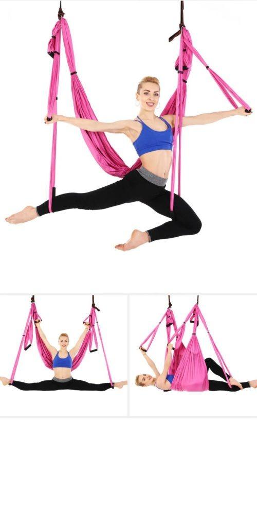 hamac yoga gymnastique rose