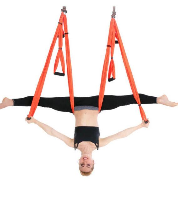 hamac yoga plafond volant balançoire orange