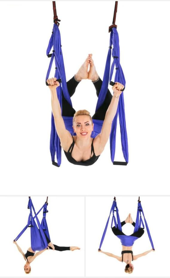 yoga hamac gymnastique bleu